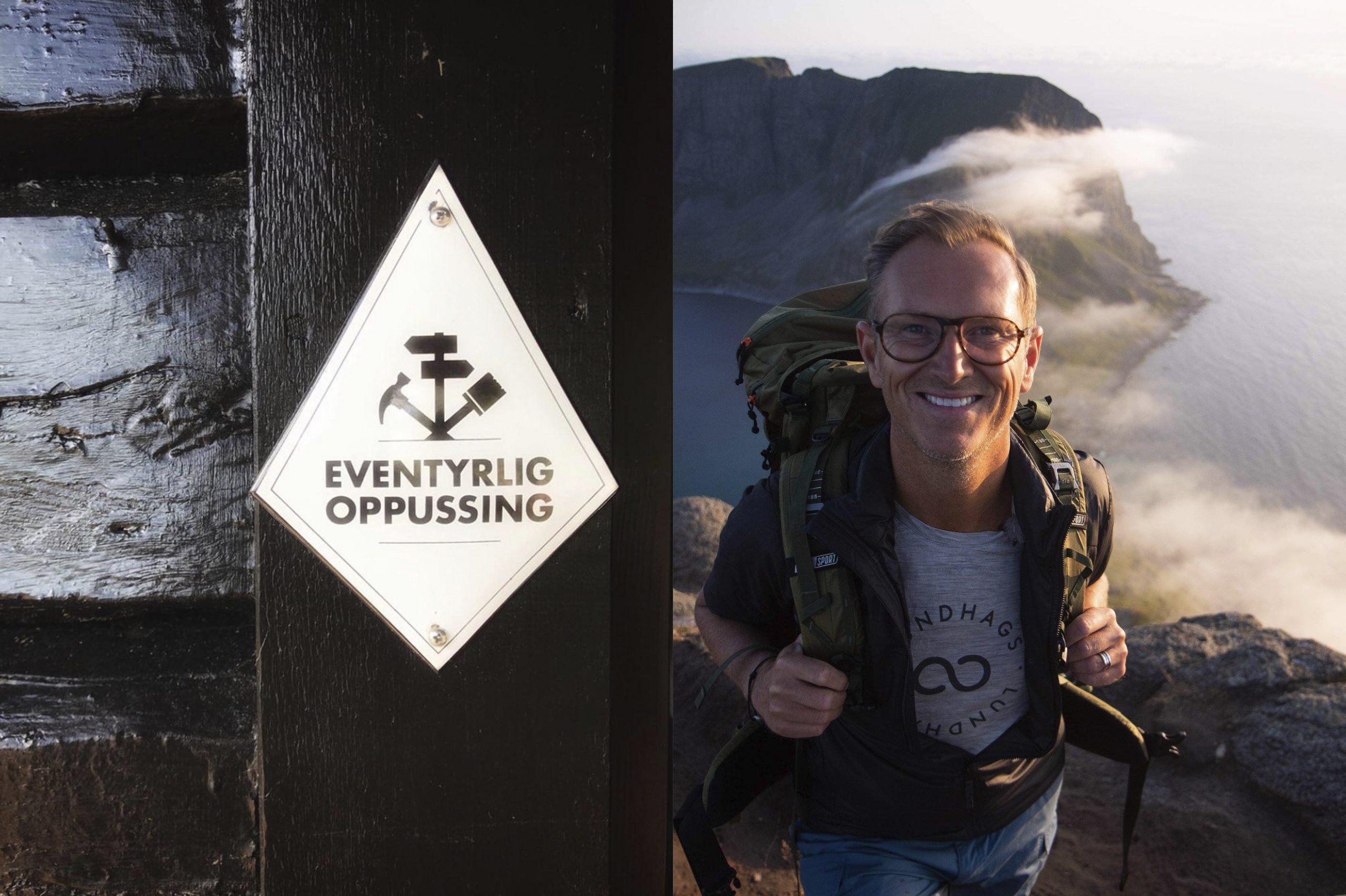 Til venstre et lite emaljert logoskilt montert på brun hyttevegg. Nærbilde. Til høyre foto av Halvor Bakke på tur.
