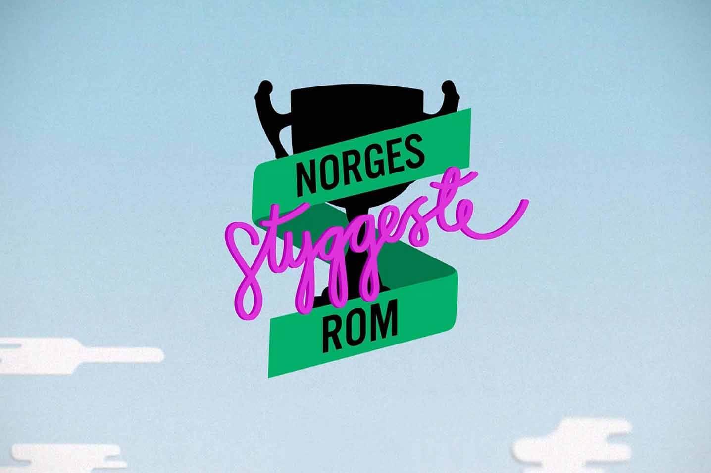 Norges styggeste rom logo på illustrasjon av himmel.