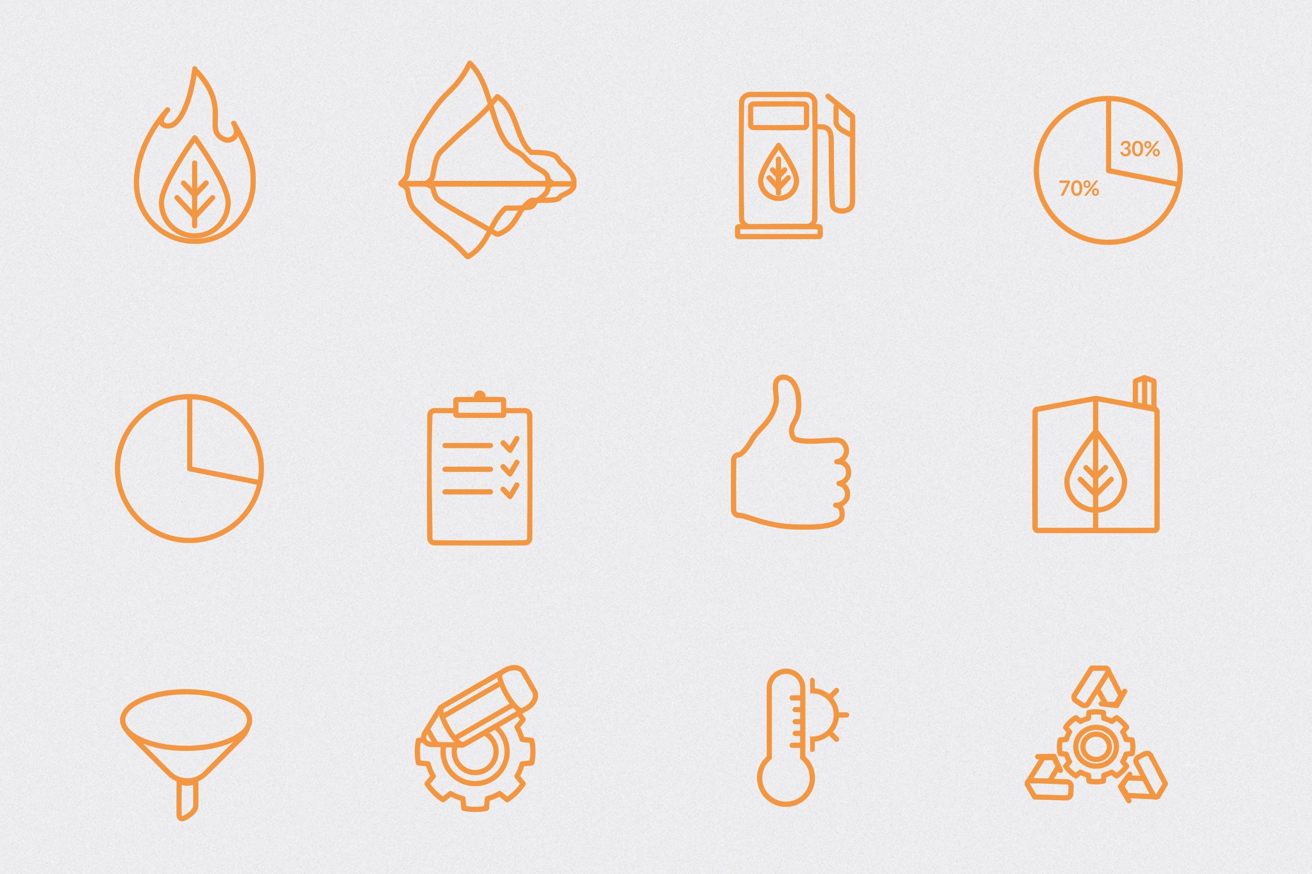 BioEnergy symboler i oransj på lys grå bakgrunn.