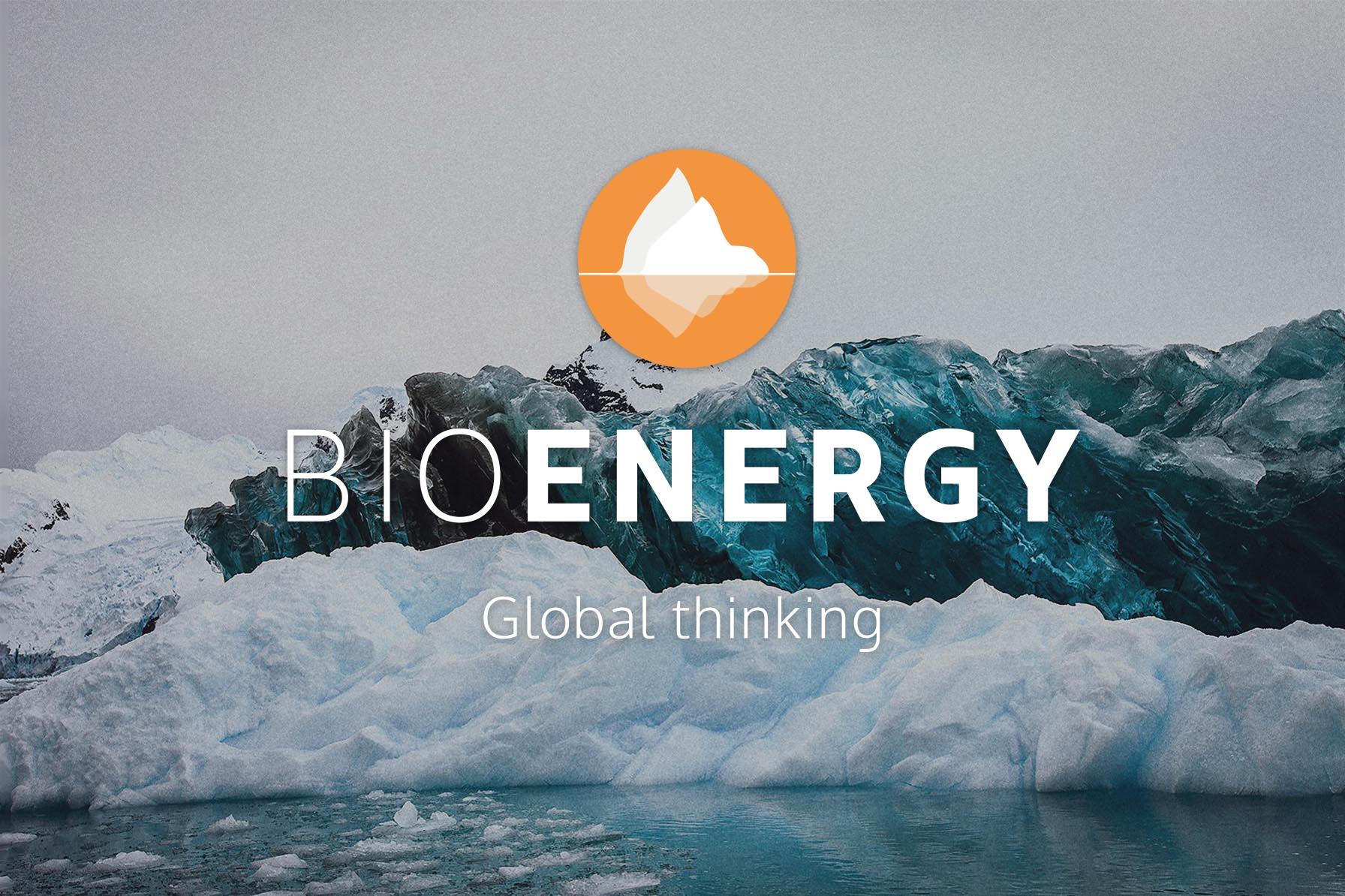 BioEnergy logo på foto av fjell, sjø og is.