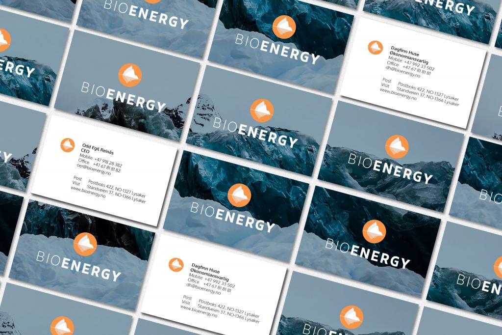 Illustrasjon av BioEnergy visittkort liggende side om side