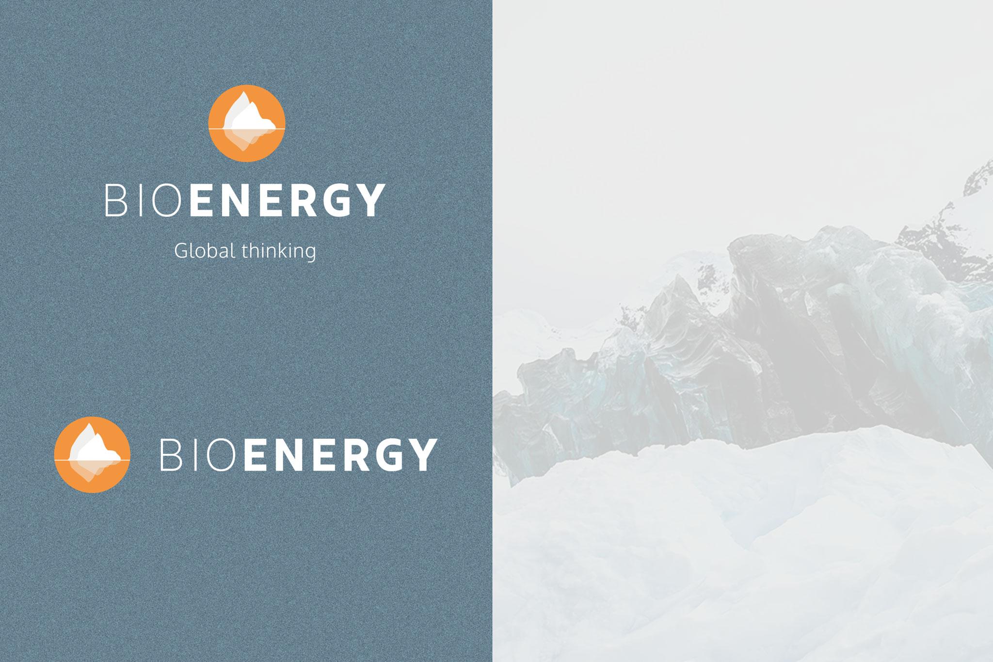 BioEnergy logovarianter på blå bakgrunn