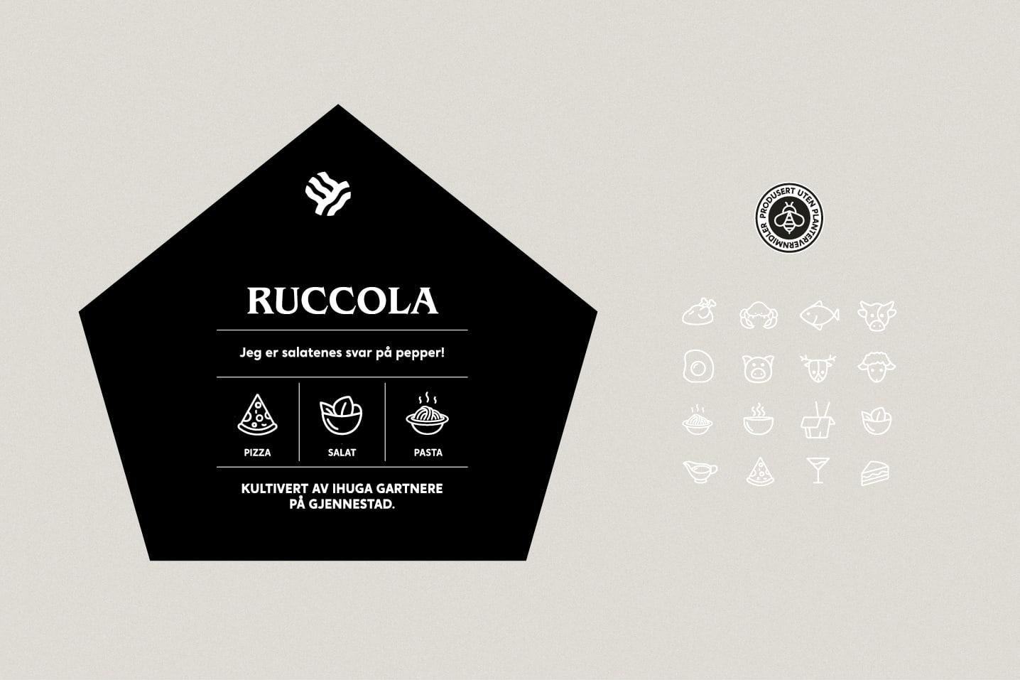 Design og ikoner fra pakningsdesignet